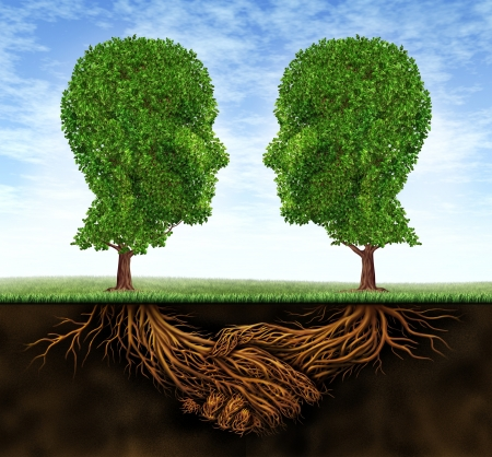 teamwork together: Business collaboration teamwork and growth with roots in the shape of a hand shake and trees as human heads for trust and integrity in a growing financial relationship for strong wealth success