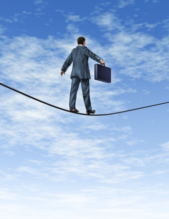 agility people: Business man with a briefcase walking a dangerous high risk tightrope as a financial symbol of trust and confidence with courage and reliability on a blue sky with clouds  Stock Photo