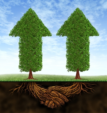 growing partnership: Business partnership growth as an icon of financial cooperation between two partners as trees in the shape of arrows growing and plant roots shaped as shaking hands resulting in success  Stock Photo