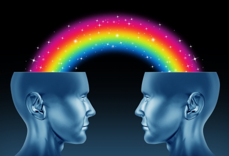 Creative partnership and imagination teamwork as a concept of brainstorming exchange between two creative people to find new innovative ideas for business and the arts with open human heads and a rainbow connection
