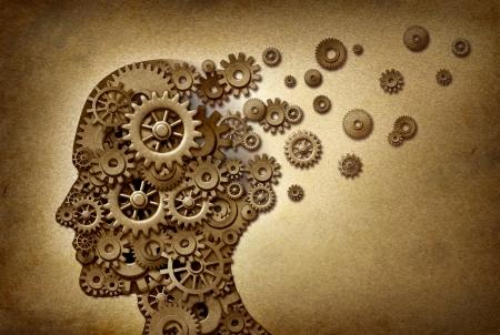 esquizofrenia: Dimentia cerebro problema médico y cuidado de la salud concepto de símbolo en una textura de pergamino grunge como un documento de la vendimia con engranajes y dientes en forma de iconos de la medicina y la inteligencia humana