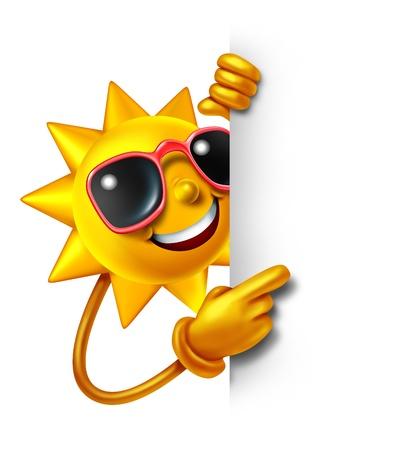 Zon, zomer, leuk als een drie-dimensionale stripfiguur met een leeg wit bord als een symbool van de vrije tijd zonnige vakantie tijd en reclame of communicatie van vakantie ontspanning