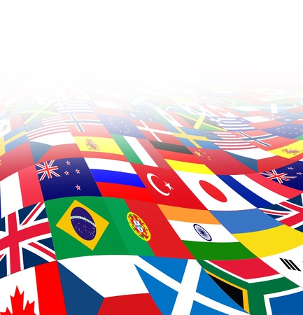 International business background with flags from the world in three dimensional perspective as a symbol of global financial trade and economy on a white background