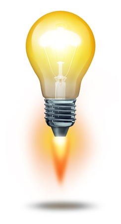Power of thinking and successful creative ideas symbol with an illuminated lightbulb blasting off as a powerful rocket upward to sucess in innovation for business on a white background  Banco de Imagens