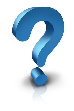 asking question: Question mark in three dimensions as a blue sybol of inquiring searching for answers or asking a question or the financial uncetainty of the economy on a white background