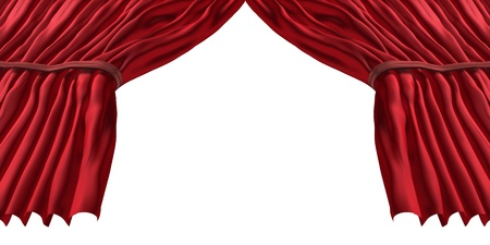 forced perspective: Red stage curtain and rich classical velvet drapes with an open blank center for text as a theatrical symbol of an important  performance or presentation on a white background  Stock Photo