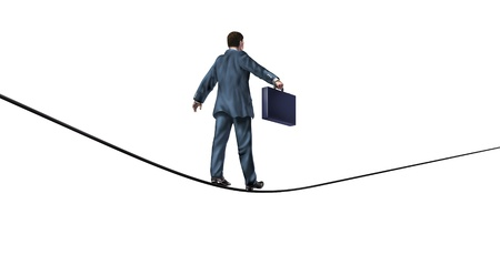 Businessman with a briefcase on a challenging tightrope showing the financial concept of investing risk and confidence in clear reliable vision on an isolated white background  Stock Photo - 13838350