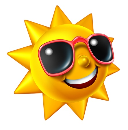 Sonriendo carácter verano el sol con gafas de sol como una bola resplandeciente feliz de la diversión de temporada caliente y un símbolo de las vacaciones y el descanso en con un clima soleado aislado en blanco Foto de archivo