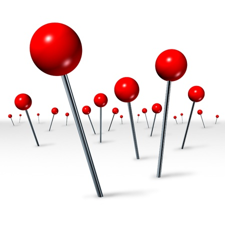 pinpoint: Travel direction location concept with red pushpins in perspective as a tourism and traveling symbol showing the journey concept of marking a location to help in navigation on a white background
