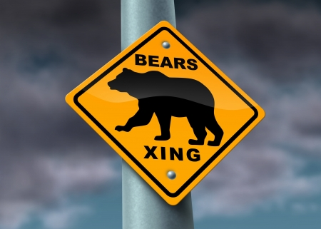 Bear market warning sign with a yellow street icon showing the financial hazards of investing in a tough and bad economy with sellers of stock and unemployment on a cloudy storm sky  Stock Photo - 13876611