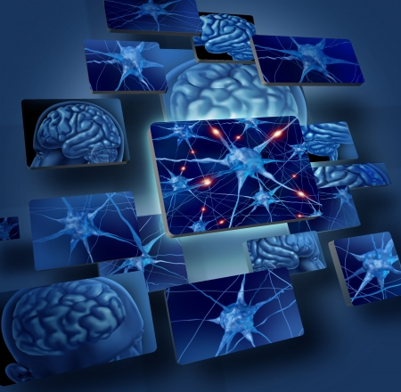 Brain neurons concepts as human brain medical symbol represented by geometric windows close up of neurons and organ cell activity showing intelligence related to memory  Stock Photo
