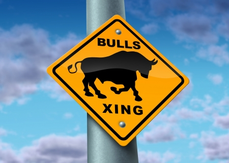 bullish market: Bull market sign as a yellow street icon showing the financial profit of investing in a good and wealthy economy with buyers of stock and full employment as a symbol of financial profit and success in investing