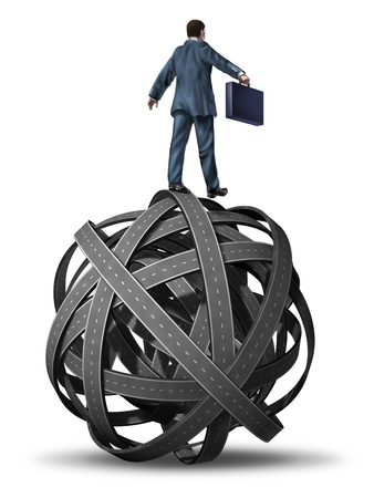 Business manager skill in directing complex problems and challenges  represented with a businessman on a tangled ball of highways rolling and guiding the chaos to a succesful goal  Stock Photo - 13876613