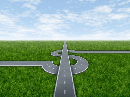 Business success highway concept with highways in the shape of a dollar sign as a money making and wealth symbol of financial travel and profits on a summer grass and sky background  Stock Photo - 13876632