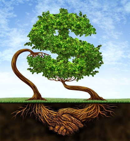 Financial growth agreement with two trees in the shape of a dollar sign and the roots in the form of hands shaking in partnership of a contract deal  for wealth success on a blue sky