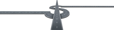 Financial Success Highway concept with highways in the shape of a dollar sign as a money making and wealth symbol of business travel and profits on an isolated white background Stock Photo - 13876608