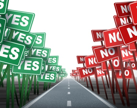 conflicting: Middle of the road with conflicting opposing signs as green yes and red no demonstration placards on both sides of a neutral highway showing the concept of difficult decisions on white