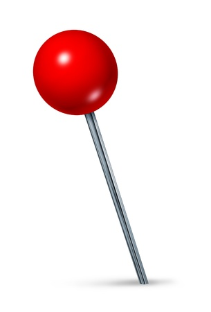 travel location: Red pushpin as a navigation symbol of a travel location and position also an icon of business direction on a white background