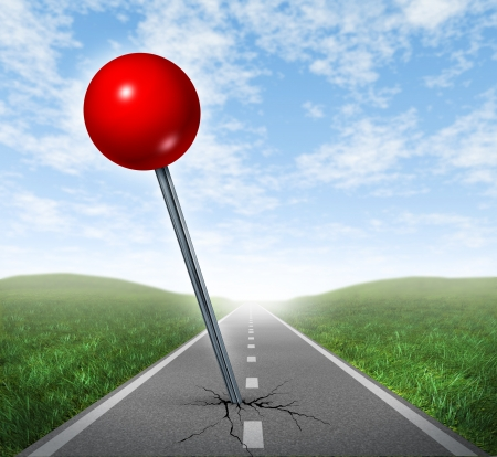 Successful location direction business symbol with a red push pin pinned and marked on a perspective oriented aspalt road  as an icon of vision and acheiving your goals  photo