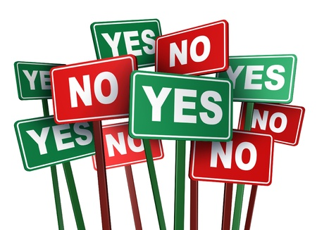 opinions: Voting yes or no with opposing and conflicting green and red campaign signs representing politics and important political issues that divide social opinion resulting in mass protest and demonstrations
