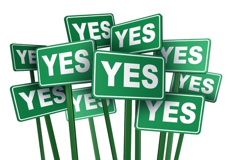 protesting: Yes Vote and voting to approve an important political or social policy or issue by protesting in a demontration with signs and placardsas a democratic right to protest the passage of a legislative law on an isolated white background