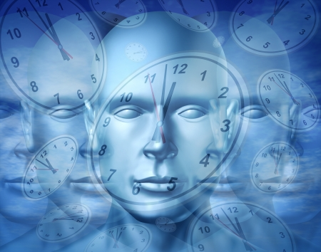 multi tasking: Business time management and financial appointment concept with a human face and surreal clocks floating as an icon of planning deadlines and due dates for jobs and work projects  Stock Photo