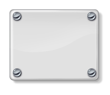 nameplate: Shiny glass blank sign with chrome metal holders on a white wall background as a three dimensional plate for advertising or a promotional message  Stock Photo