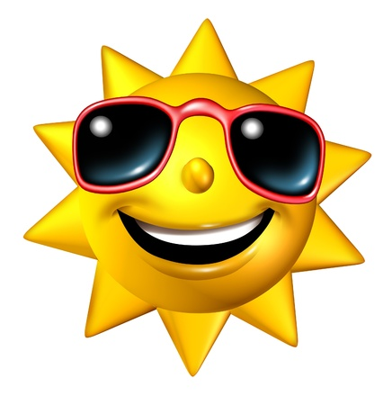 frontal: Happy smiling summer sun character with sunglasses in a frontal view as a  glowing hot seasonal ball of fun and a symbol of vacation and relaxation under a sunny weather isolated on white  Stock Photo