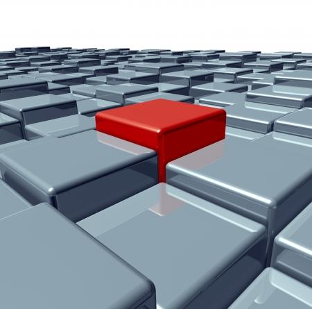 pensamiento creativo: La individualidad y la inspiraci�n como un resumen de tres dimensiones del cubo paisaje como un icono para sobresalir entre la multitud con una persona de color rojo con el pensamiento creativo que resulta en los negocios y el �xito financiero