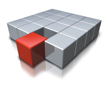 merging: Joining a team as a geometric symbol with a red cube merging in partnership with a group of grey shapes as an icon of teamwork and new successful career opportunities  Stock Photo