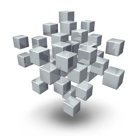 La connexion réseau cubes comme un symbole de rassemblement social et la communication d'équipe dans une entreprise organisée ou la structure financière sur un fond blanc Banque d'images - 13983362