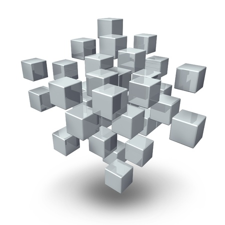Network connection cubes as a symbol of social gathering and team communication in an organized business or financial structure on a white background