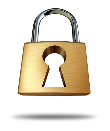 private security: Security lock with keyhole as a safety symbol and privacy icon showing the concept of protection from hackers and computer viruses in the internet age of social networking technology on white  Stock Photo
