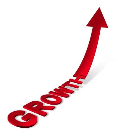 ascending: El �xito y el icono de un crecimiento econ�mico con un rojo de tres dimensiones de texto y una flecha apuntando hacia arriba en el futuro como una predicci�n y que muestra un concepto de negocio de �xito sobre un fondo blanco