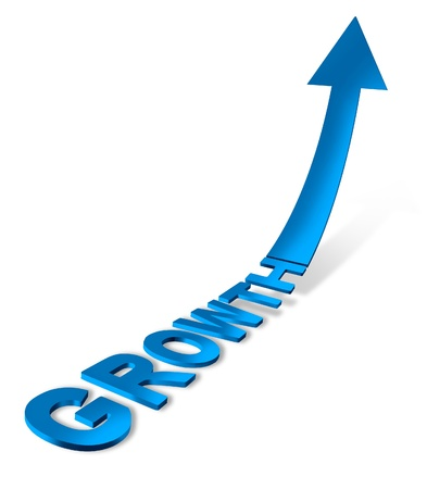 Success growth direction with a blue three dimensional financial text and arrow pointing up showing a business concept of achievement on a white background
