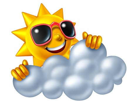 sun tanning: Sun character and cloud as a symbol of sunny weather peeking through a cloudy sky showing fun summer like hot temperartures isolated on a white background  Stock Photo