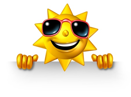 Sun character holding a blank sign for summer fun as a three dimensional cartoon mascot as a symbol of leisure sunny vacation time and advertisement or communication of holiday message  Banco de Imagens