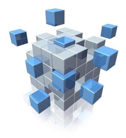 la union hace la fuerza: El trabajo en equipo de negocios s�mbolo de la cooperaci�n de la organizaci�n social como un conjunto de cubos geom�tricos unen en la asociaci�n como una fuerte red conectada en un fondo blanco Foto de archivo