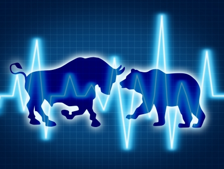 stock: Trading and investing financial symbol with a two icons representing the bear and bull markets with a wire frame chart and ticker investing graph on a black background