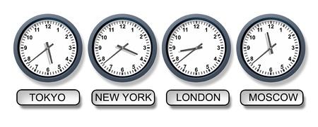 negocios internacionales: Mundial de relojes de zona horaria con Nueva York, Tokio, Londres y Mosc�, que representa el reloj de negocios internacionales y los diferentes momentos de todo el mundo para los viajes y las finanzas