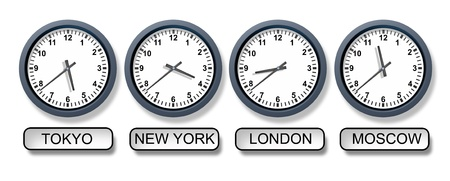 World time zone clocks with a Tokyo New York London and Moscow clock representing international business and the different times from around the world for travel and finances