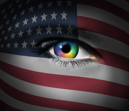 American culture and a symbol of military heroes and the pattic brave rescue first responders from the Unites States of America with a close up of a human eye  Stock Photo - 14118107