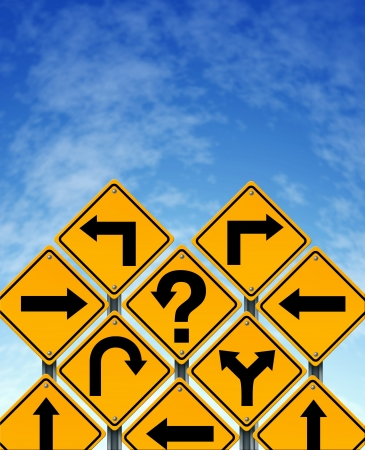 succeeding: Choosing a strategy or path as a business concept with confusing different yellow direction street signs showing dilemma questions looking for solutions for success on a blue sky  Stock Photo