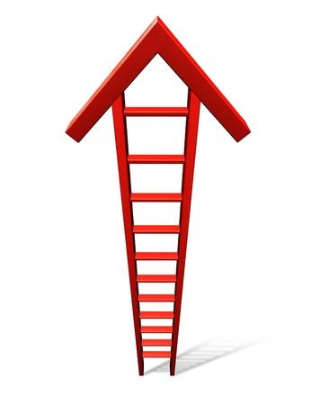 escaleras: Sube hacia el éxito con una sola escalera de color rojo en forma de una flecha llegando a la cima como un símbolo concepto de negocio de la ganancia financiera y sabios consejos de invertir en un fondo blanco