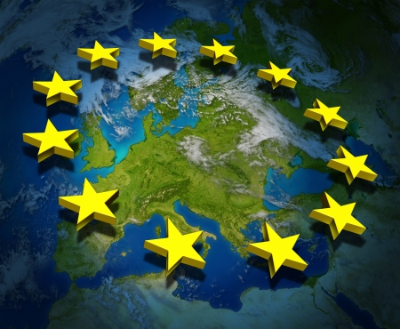 european community: Europe and the European Union flag symbol with three dimensional gold stars floating on a map