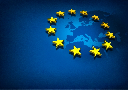 geography of europe: European Union and Europe countries including France Germany Italy and England surrounded by blue ocean with three dimensional yellow flag stars on a blue grunge background  Stock Photo