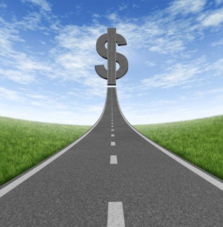 процветание: Шоссе к богатству и бизнес символ экономии денег как единого шоссе, ведущего к иконке знак доллара на летнем небе, как понятие финансового успеха