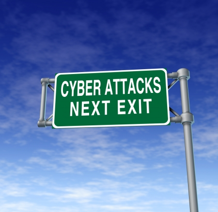 highway sign: Internet security and cyber attacks as a technology concept of data protection and computer network safety warning with a green highway sign on a sky background  Stock Photo