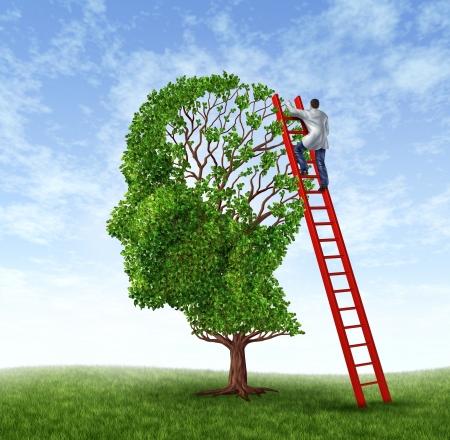 lab coat: Esame medico con un operatore sanitario che indossa un camice da laboratorio salendo una scala rossa l'esame di un albero a forma di testa umana come simbolo di chirurgia del cervello e intelligenza Archivio Fotografico