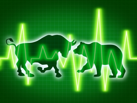 Stock market concept of the animal symbols for buy and sell as a bull and bear for bullish and bearish business and financial trading of investments in corporations with a dark green background  photo
